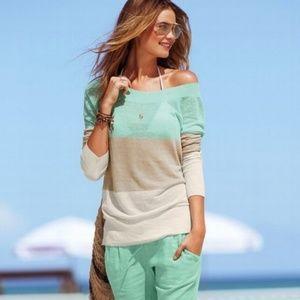 VICTORIA SECRET Mint Linen Sweater Sz Lg NWOT!